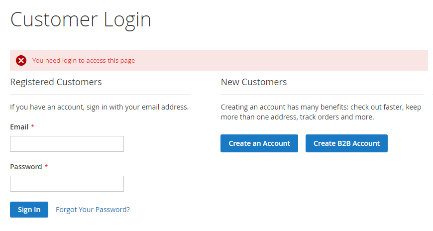 Require customers to login to access your B2B pages