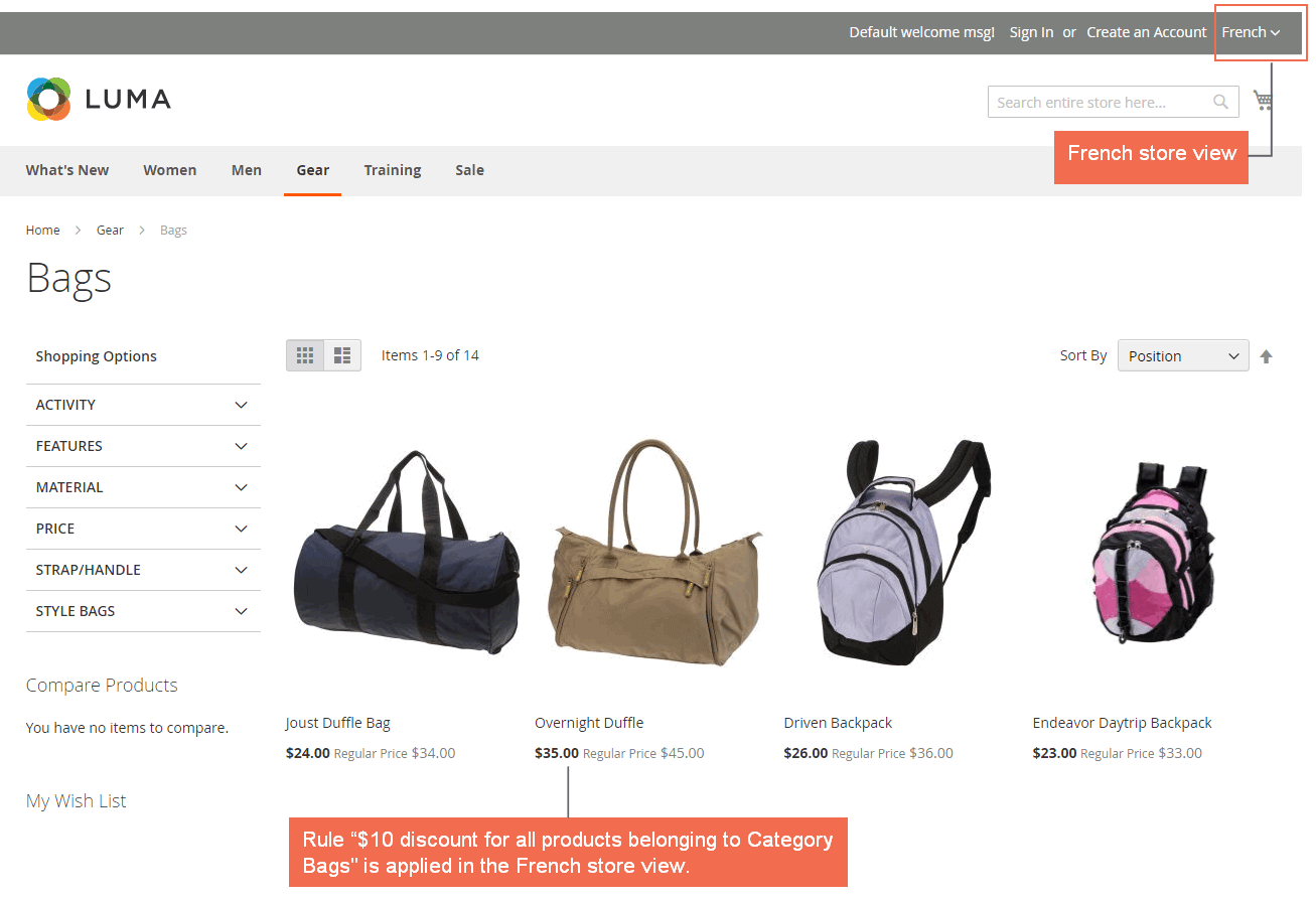 "Rule ""$10 discount for all products belonging to Category Bags"" is applied in the French store view"