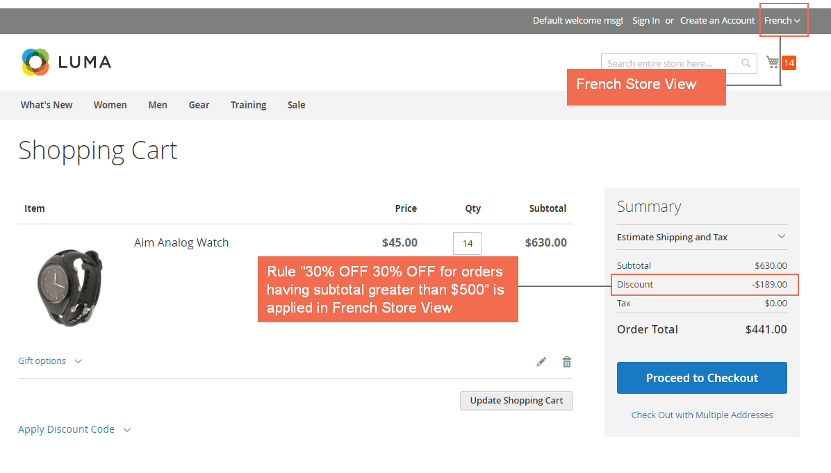 """The rule """"30% OFF for orders which has subtotal greater than $500"""" is applied in French store view"""