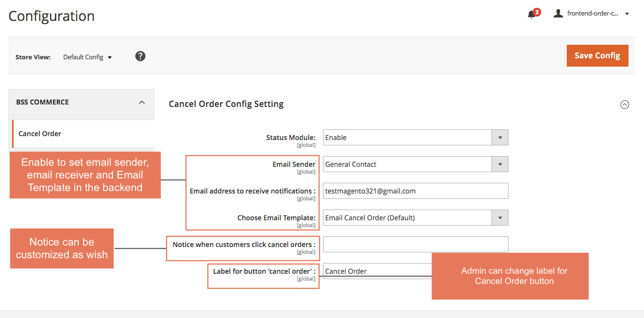 Frontend Cancel Order for Magento 2 backend