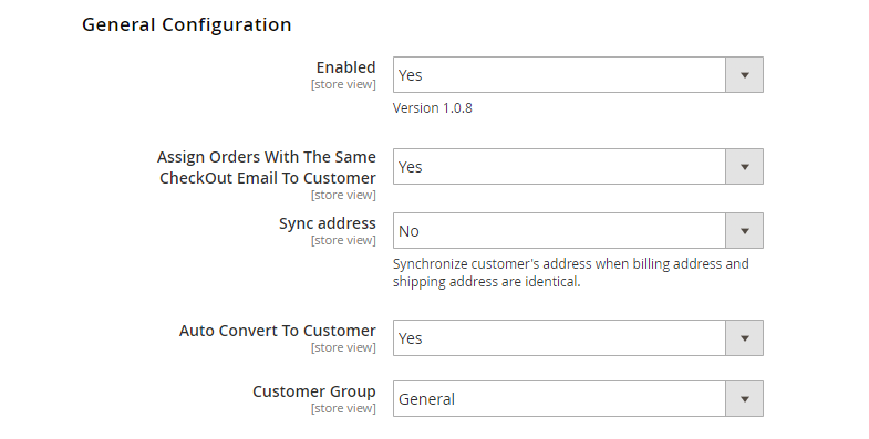 Set Yes to auto convert guests to customers after Magento 2 checkout