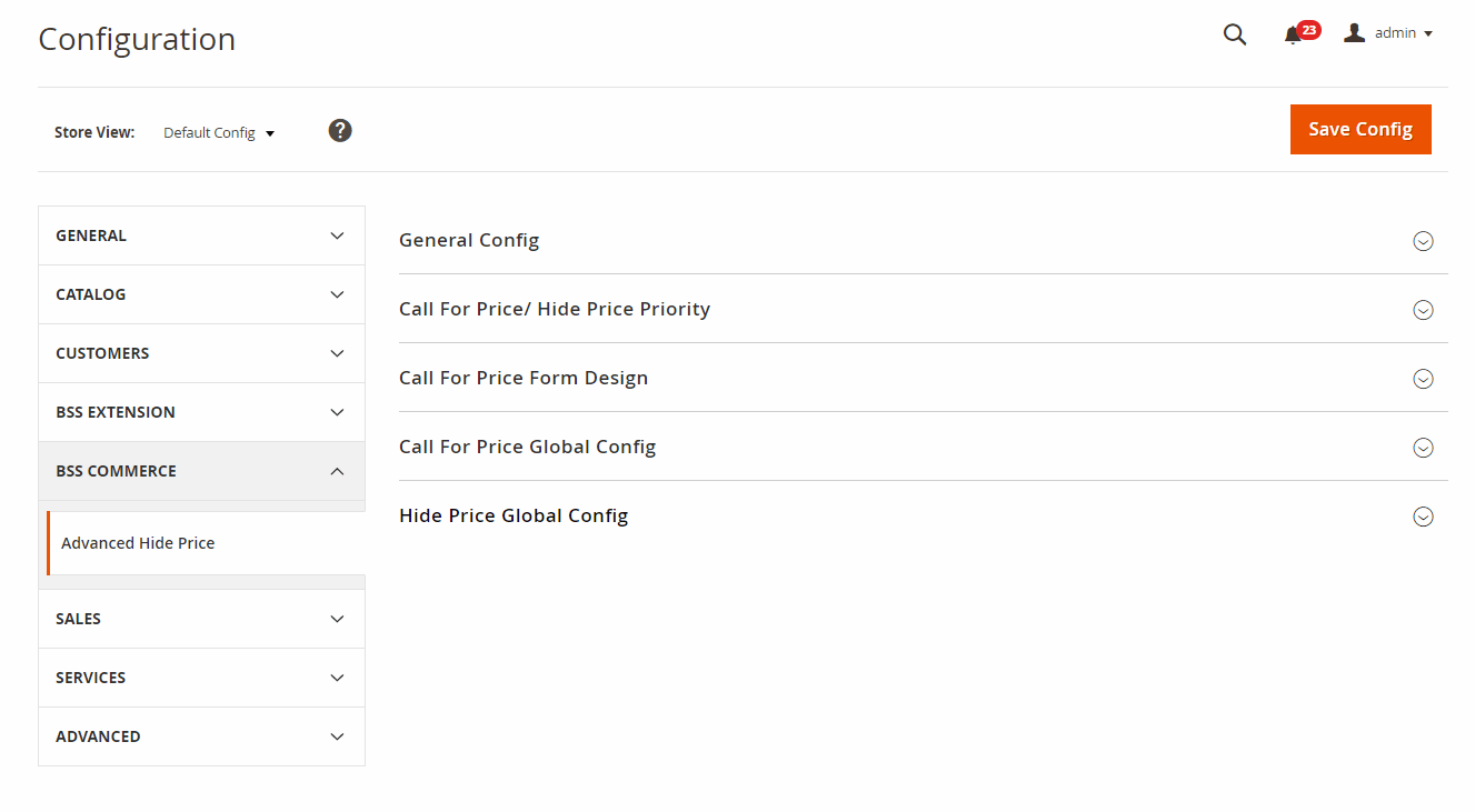 Backend config of Magento 2 Hide Price Call For Price extension