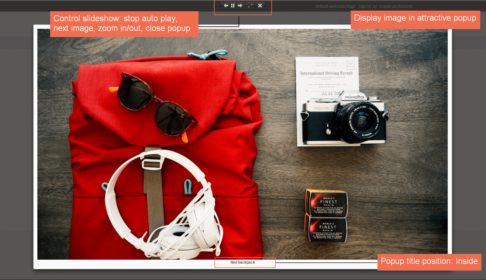 Magento 2 Gallery extension displays image in attractive Popup. Popup title position: Inside