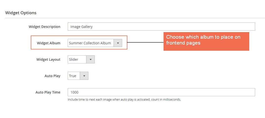 Choose gallery widget layout and select auto play for gallery widget with this gallery extension for Magento 2