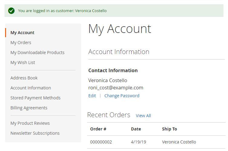 magento 2 login as customer login success