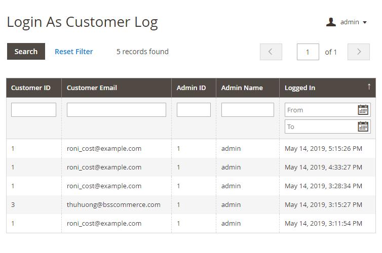 magento 2 login as customer login log