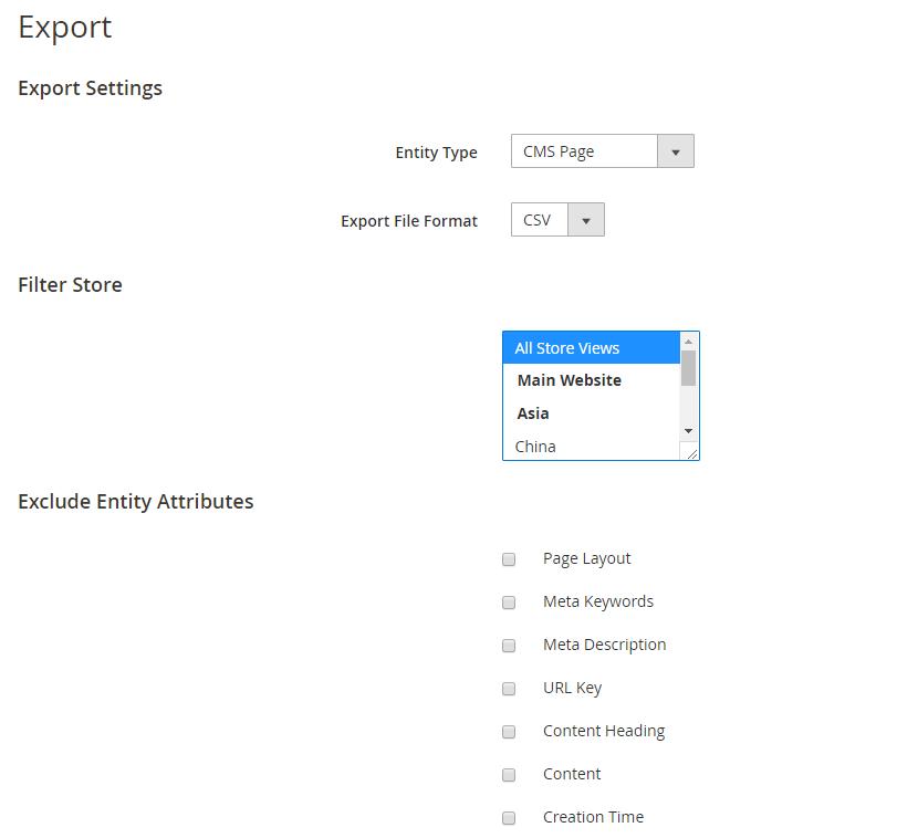 Make export settings
