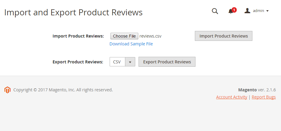 Import and Export product reviews in the Magento 2 backend