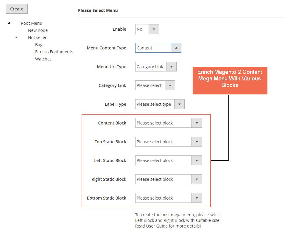 Mega Menu content type backend