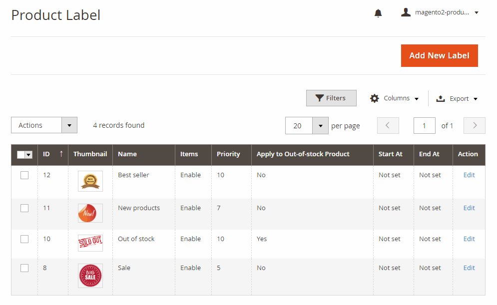 Product label in the backend product label grid