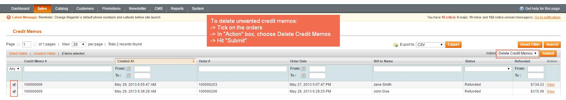 Delete Unwanted Credit Memos