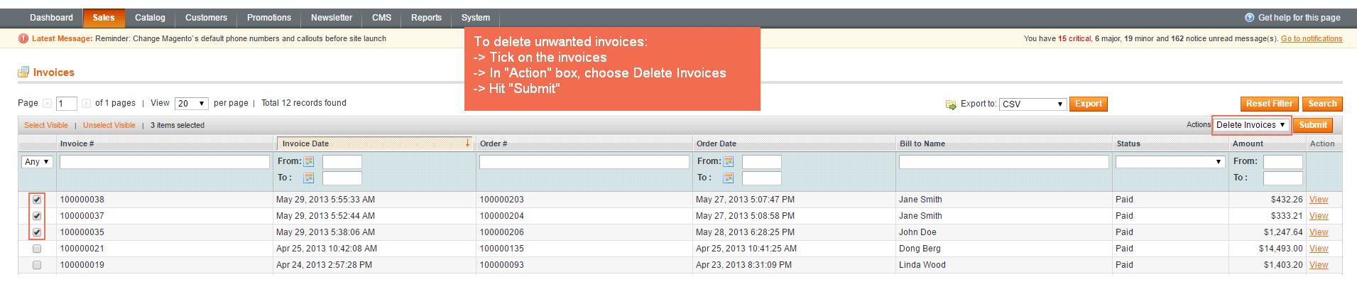 Remove Redundant Invoices