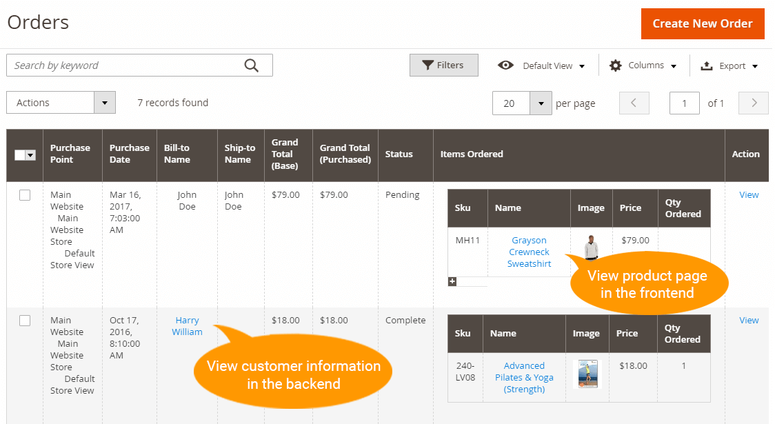 Preview frontend product pages and backend customer information pages from Sales Order Grid