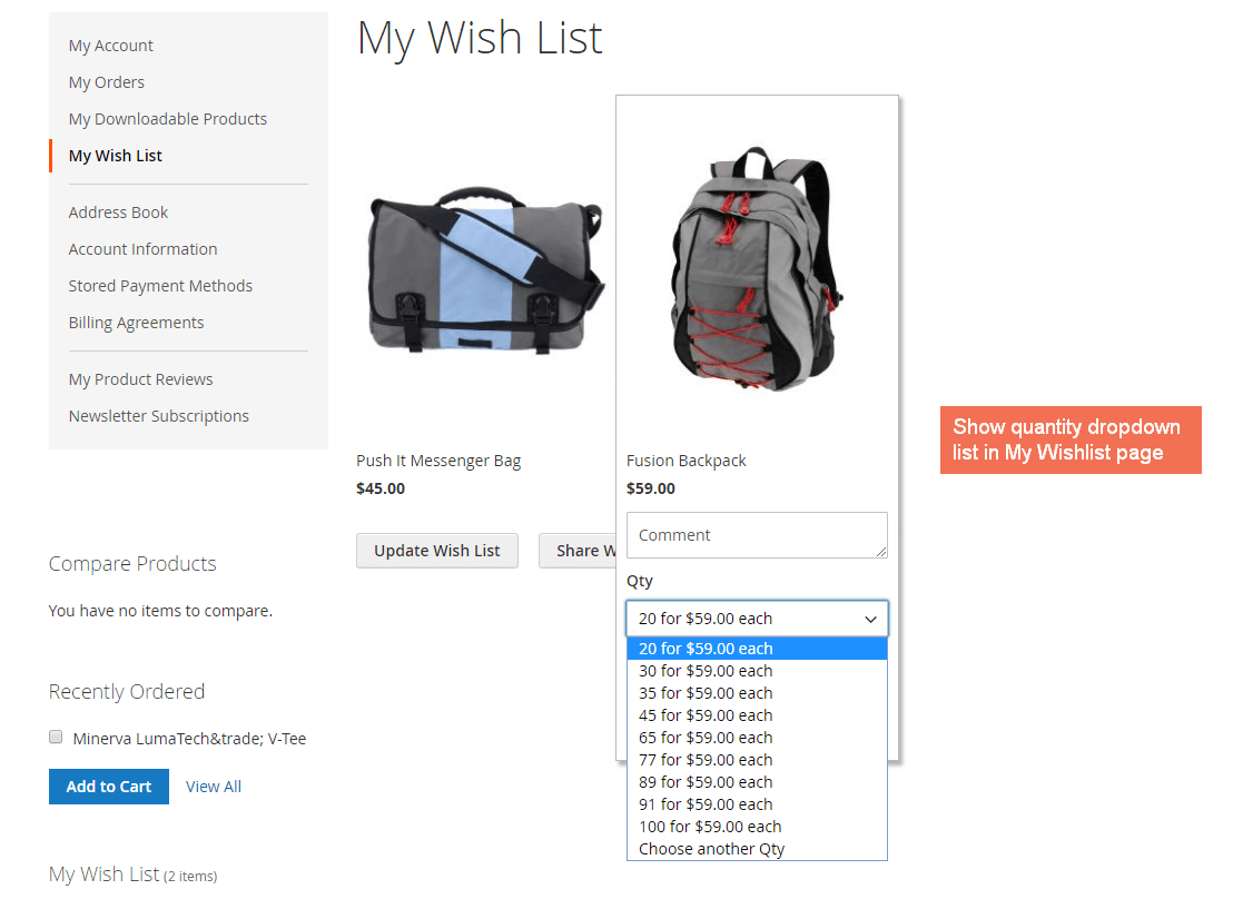 Show quantity dropdown list in My Wishlist page with Magento 2 Quantity Dropdown Extension