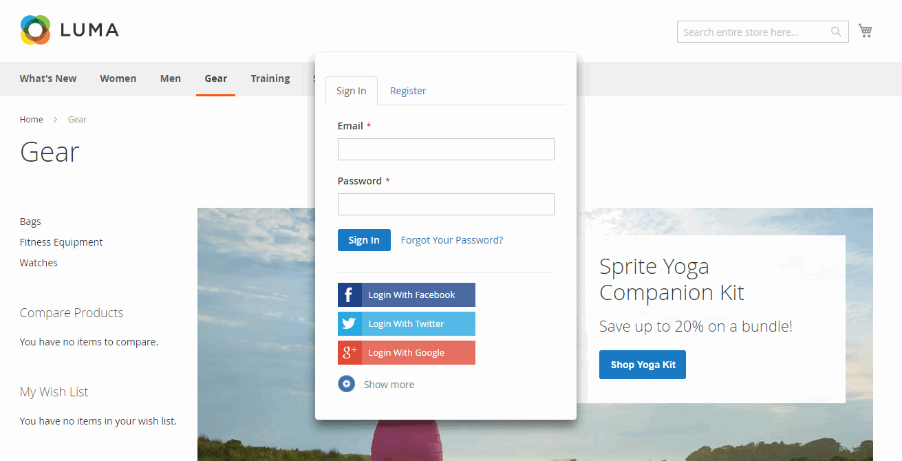 Magento 2 Social Login extension enables ajax popup for login