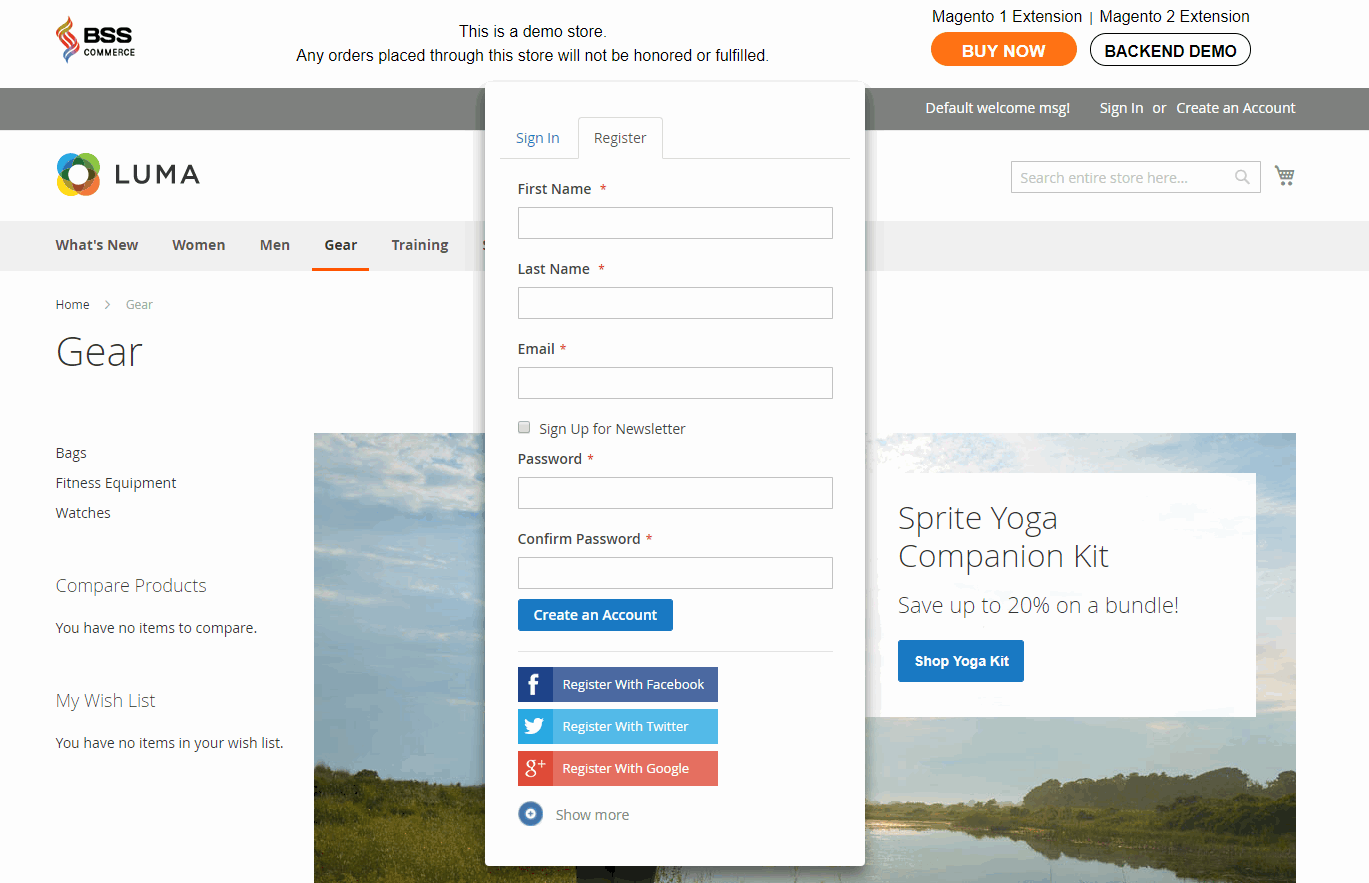 Magento 2 Social Login extension enables ajax popup for register