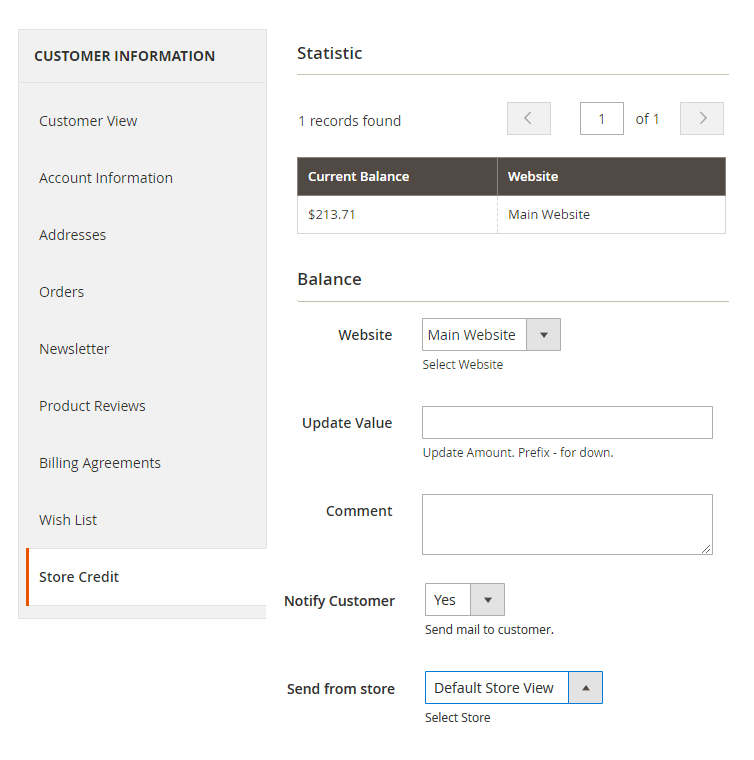 magento store credit extension - update credit in customers