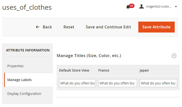 magento 2 custom customer attribute per store view