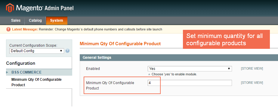 Set minimum quantity for all configurable products