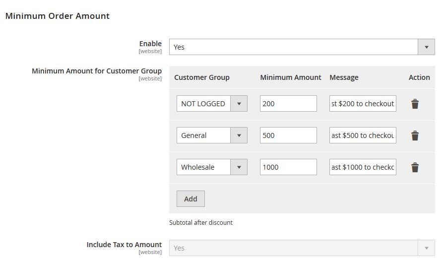 Magento 2 Minimum Amount for Customer Group