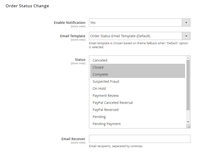 Settings for notification emails when order status changes