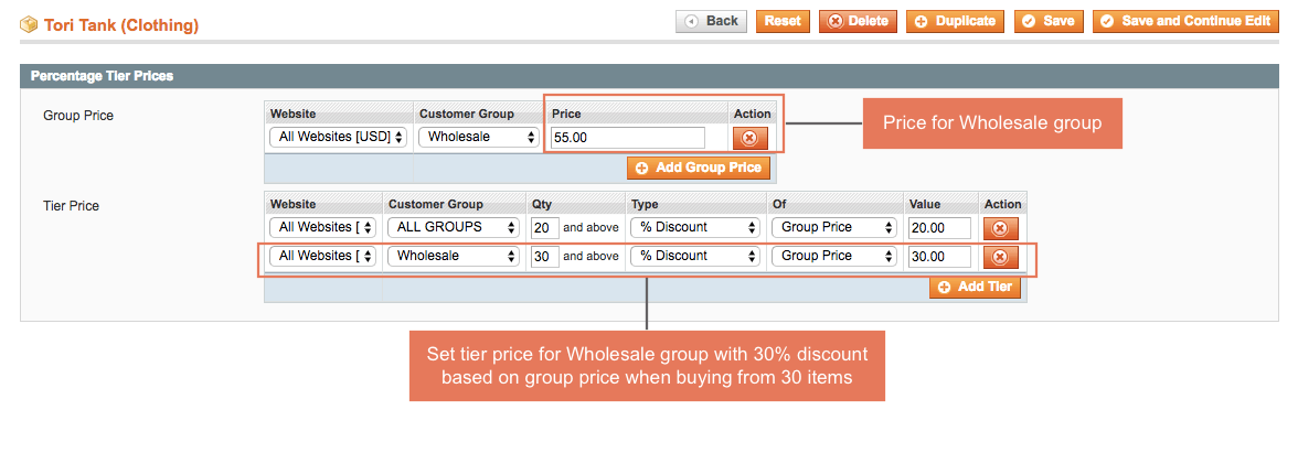 Easily set up tier price based on standard price or group price
