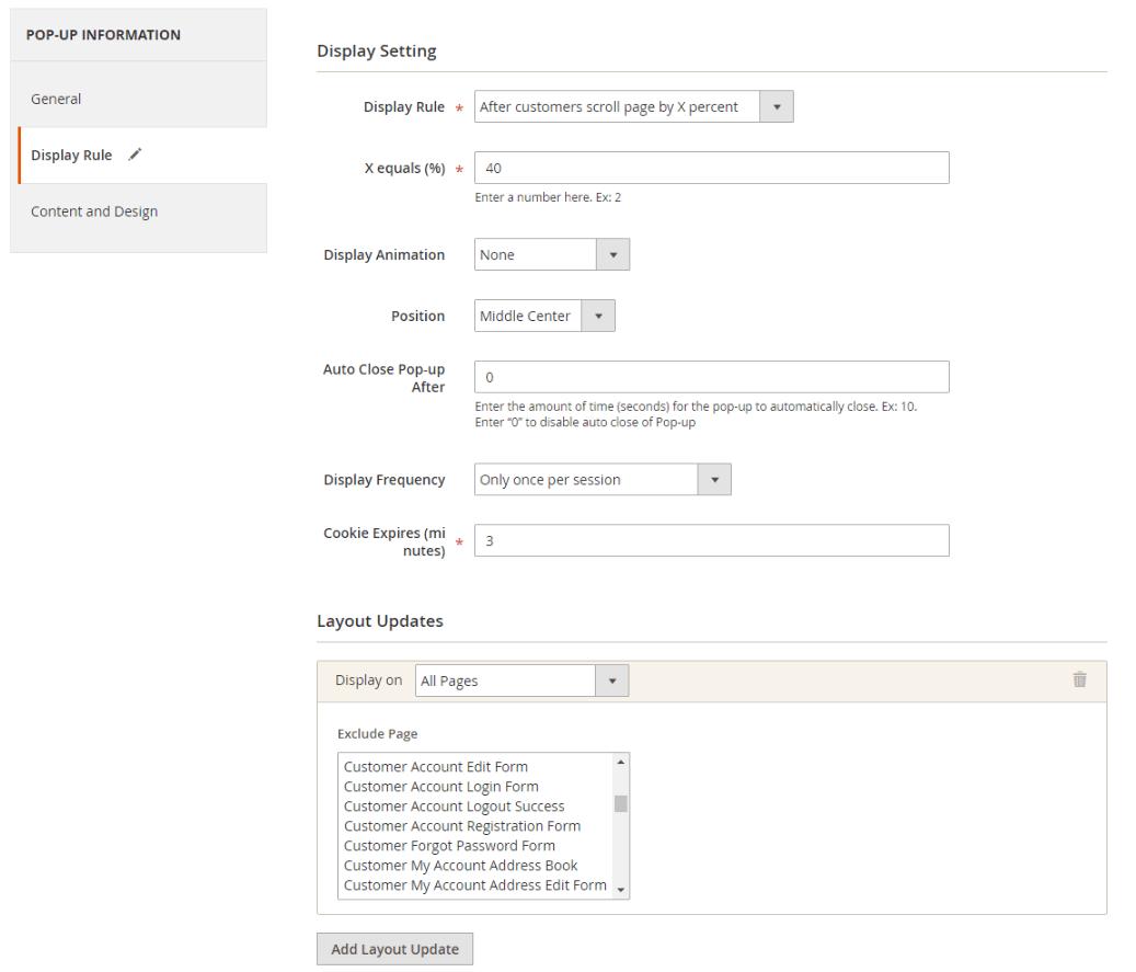 magento newsletter pop-up extension - set rule popup