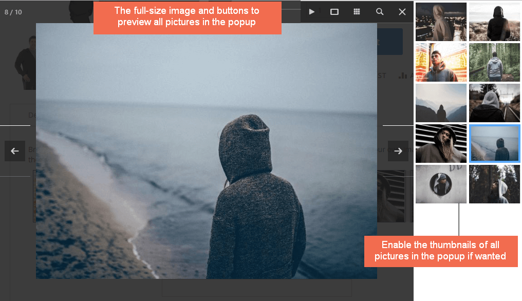 magento product image extension-image in popup