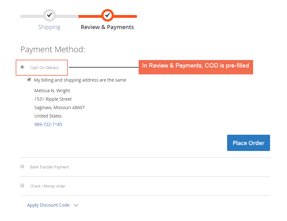 pre-fill magento 2 pre-select shipping payment