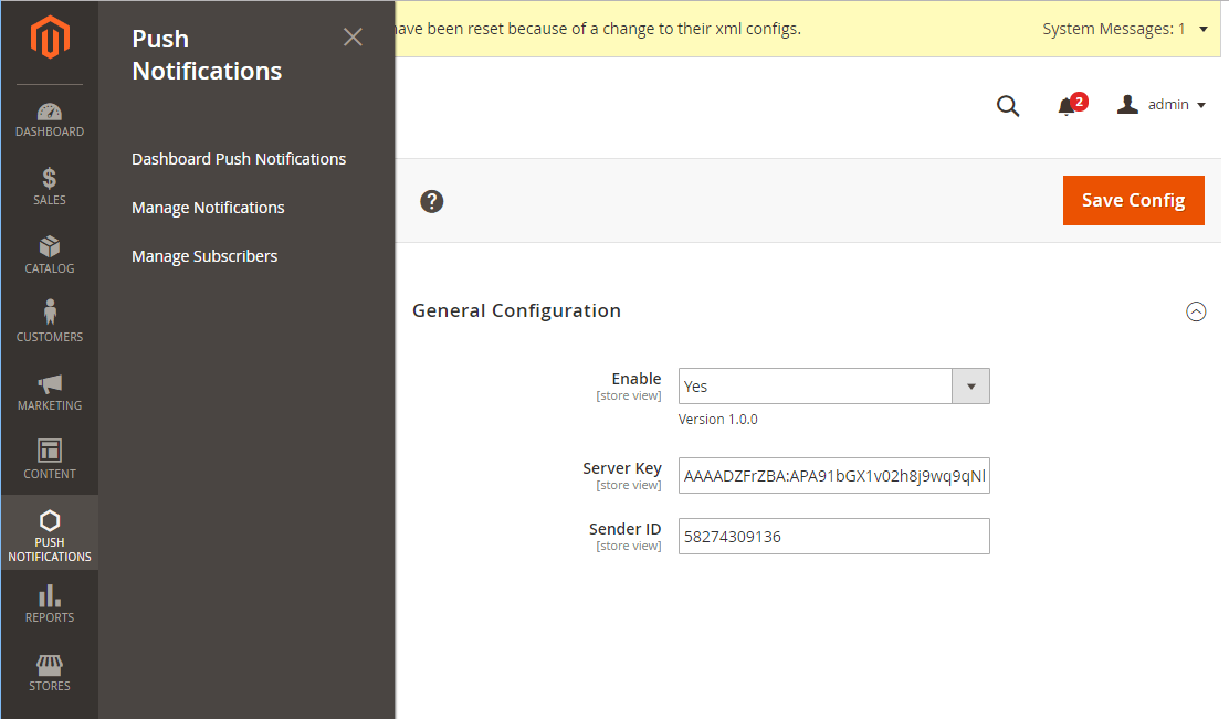 Magento 2 Push Notifications extension's backend configuration