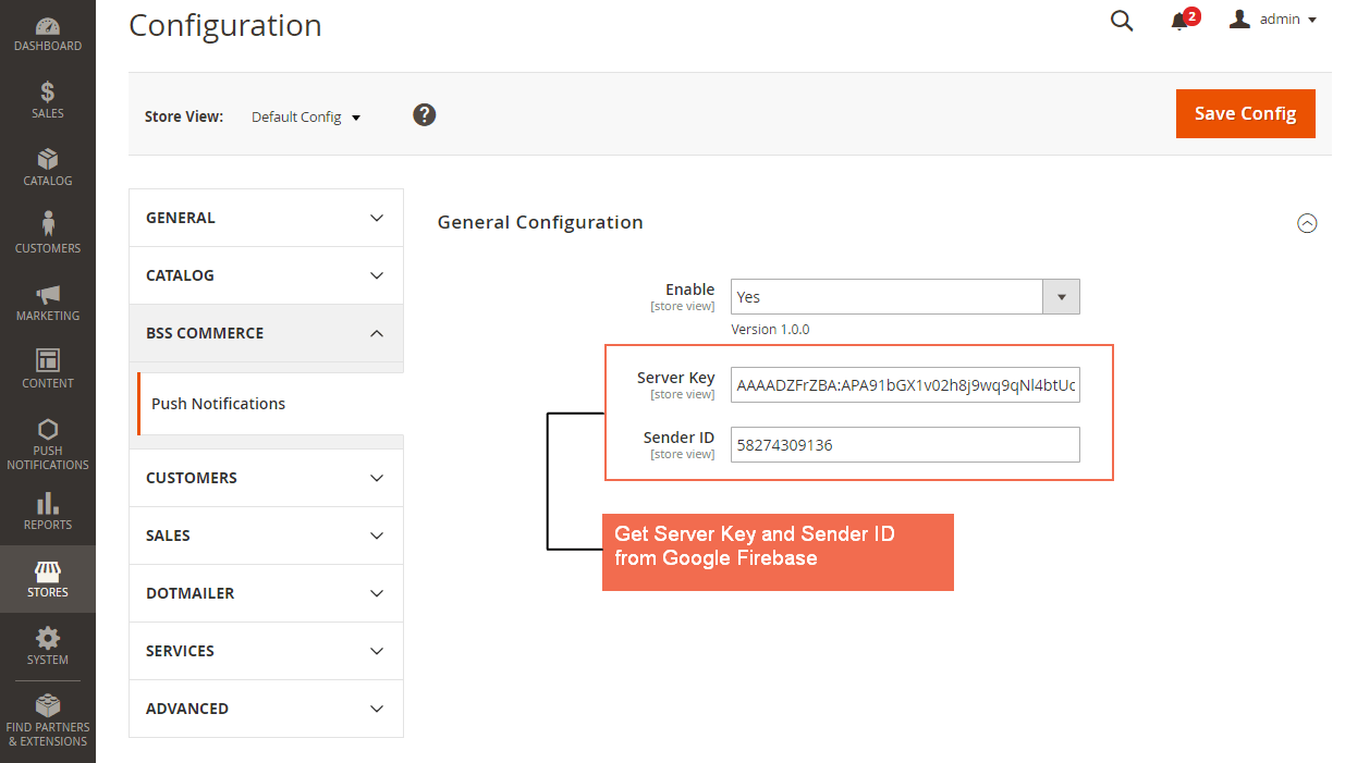 General config of Magento 2 Push Notifications extension