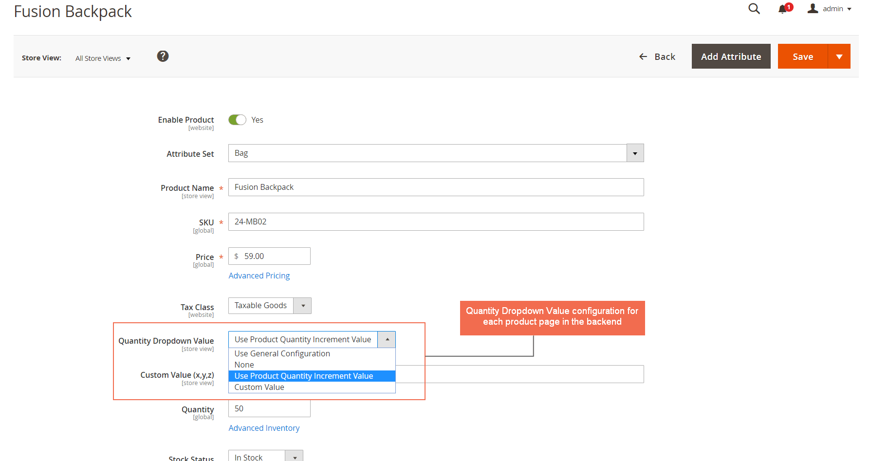 Quantity Dropdown Value configuration for each product page in the backend