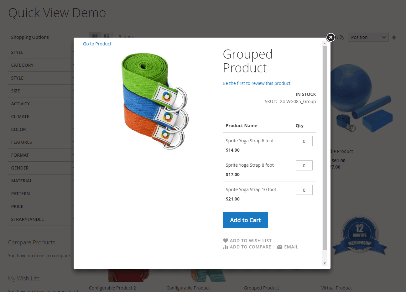 Quick View pop-up for grouped product in Magento 2