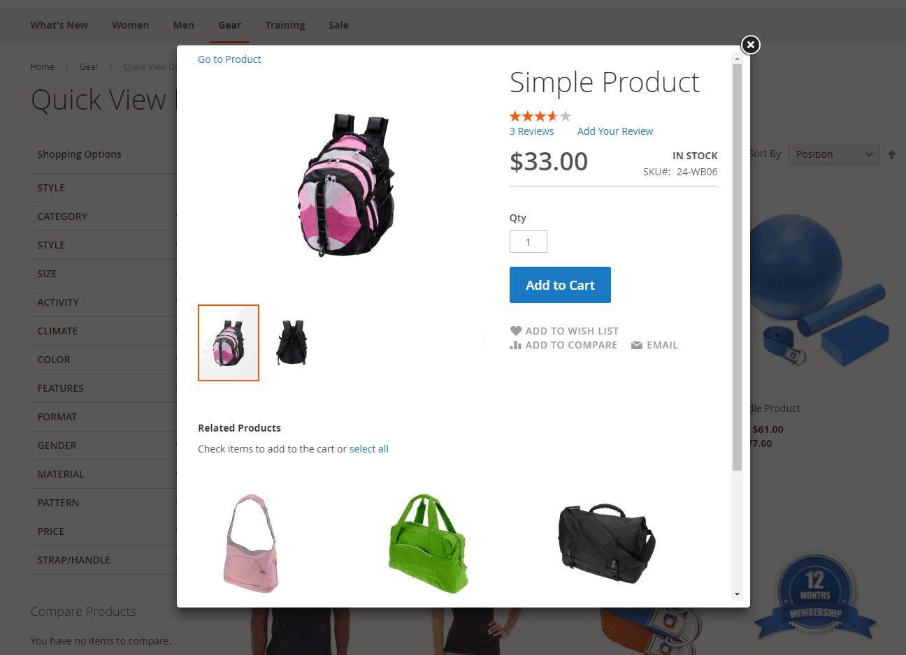 Quick View pop-up for simple product in Magento 2