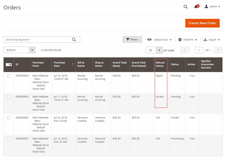 Magento 2 Refund status in Order Grid