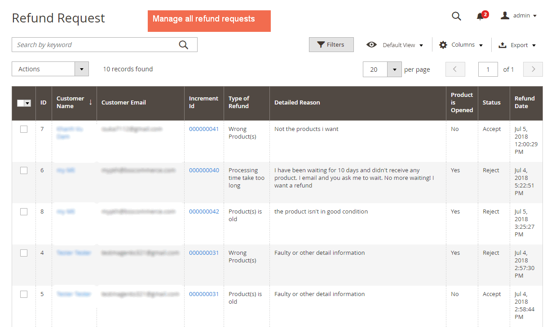 Refund Grid of Magento 2 Refund Request by Customer extension