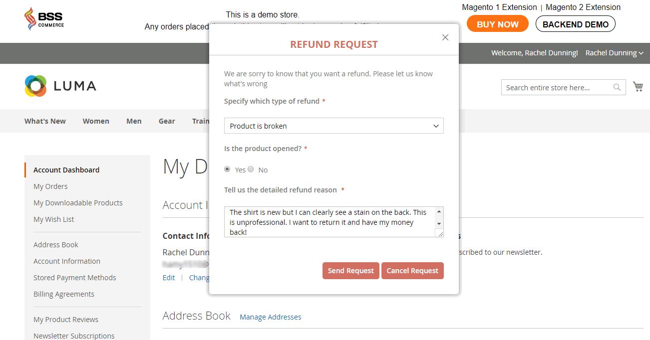 Magento 2 Refund popup to send refund request
