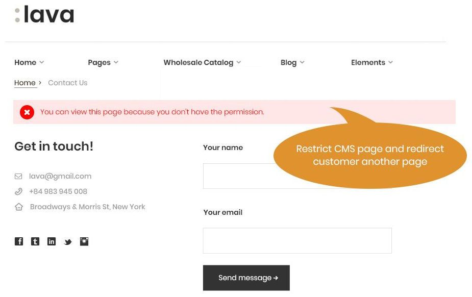 Restrict CMS page access and redirect customer another page