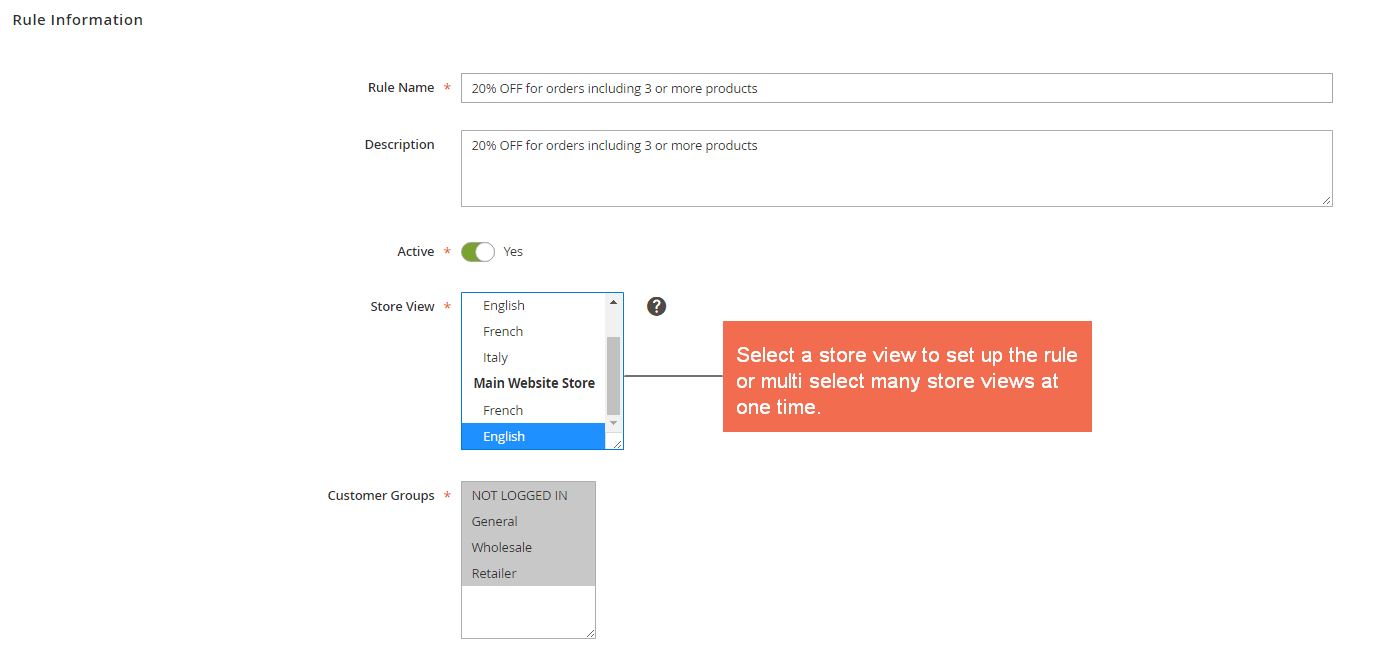 Select store views to set up the rules