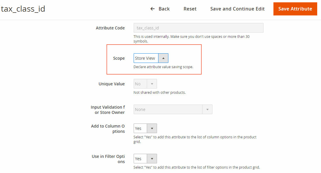 Change scope of Tax class attribute into Store View