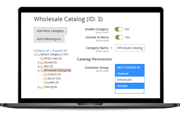 catalog permission setting magento 2 b2b demo