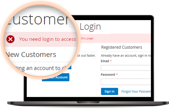 require login Magento 2 B2B features for Magento 2 B2B extension