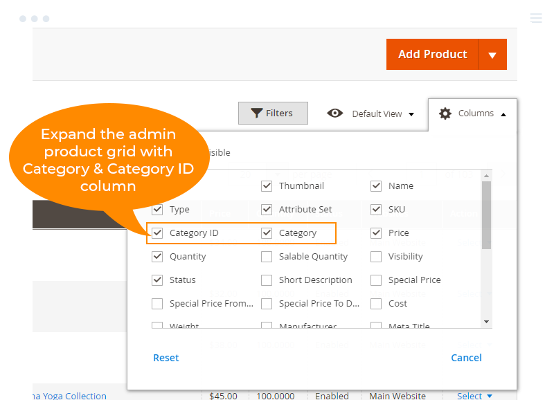 Expand the product grid with Category and Category ID column