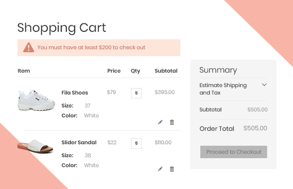 magento 2 b2b demo minimum order amount