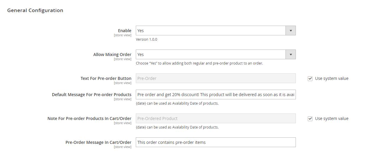 preorder-magento-2-extension-settings