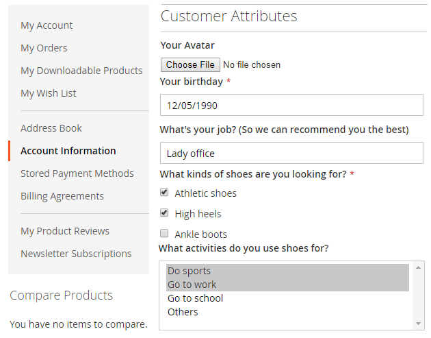 Added attributes in My Account Page