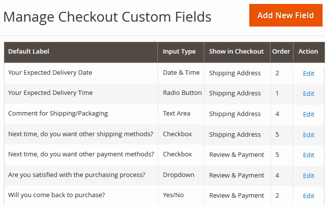 Checkout Custom Field Grid