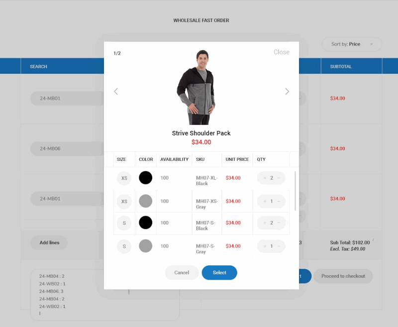Magento 2 Fast Order and Configurable Product Grid Table View