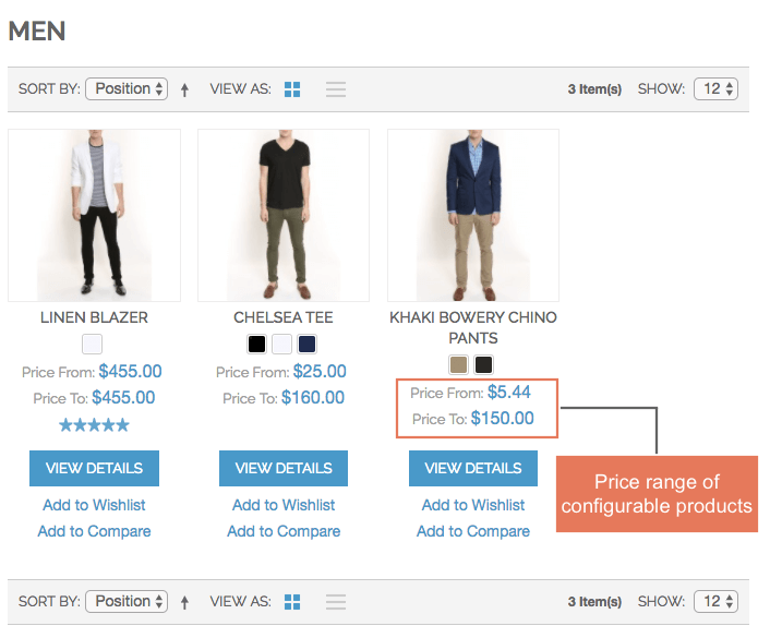 Display the price range of configurable product on category page and product page as well