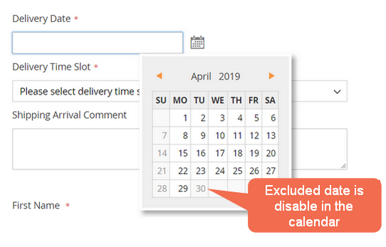 Exclude dates from Delivery Date Option